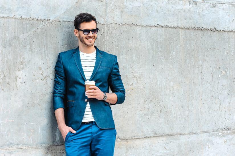 niebieskie spodnie męskie