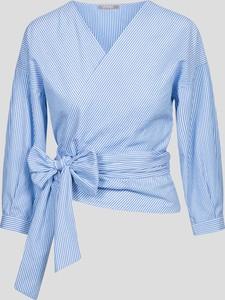wrap blouse w delikatne prążki z kopertowym dekoltem