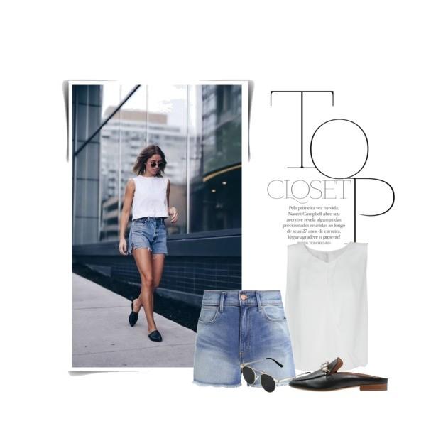 jeansowe szorty w minimalistycznym zestawie