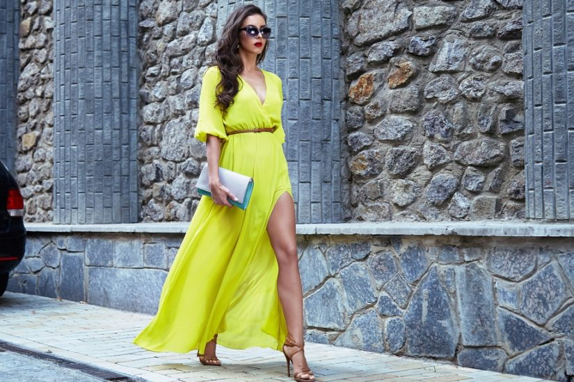 maxi dress w żółtym kolorze