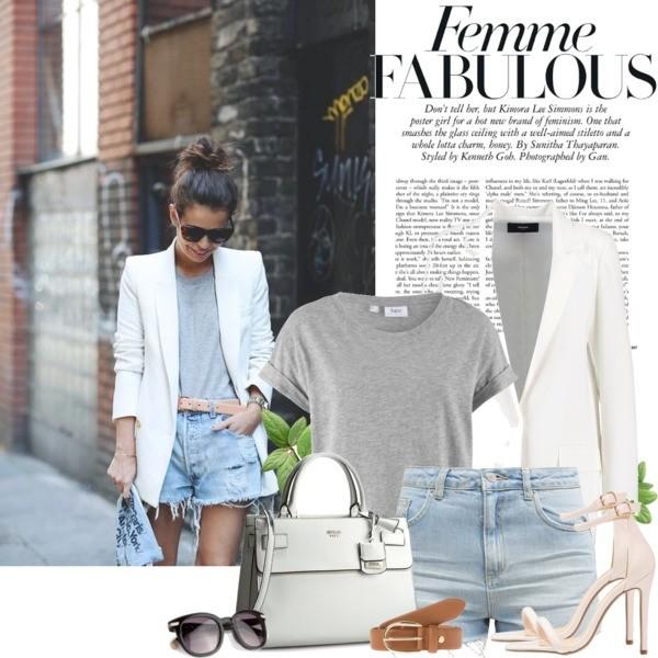 jeansowe szorty z elegancką, biała marynarką