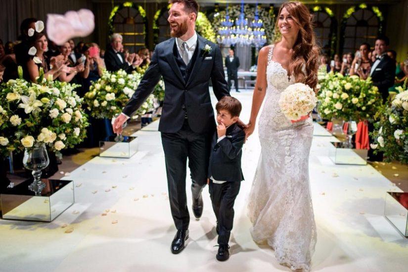 piłkarz leo messi z synem i żoną