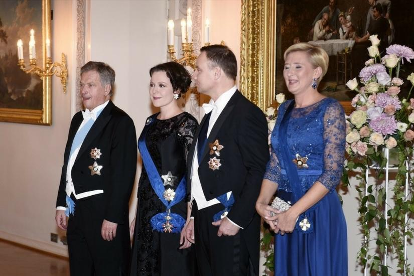 Uroczysta kolacja w Helsinkach- para prezydencka