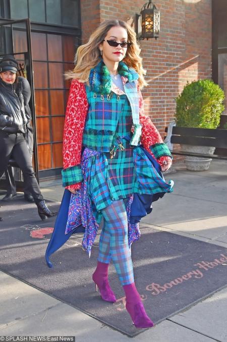 Colorful in plaid Rita Ora heads out  Pictured: Rita Ora