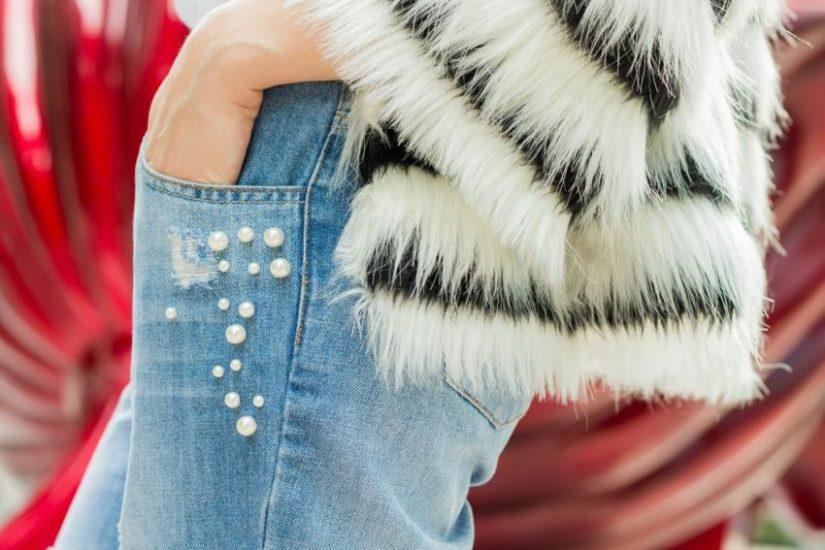 denimowe spodnie z perełkami