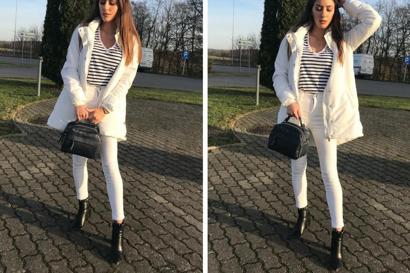 Laila Szaranek w białym total looku z torebką od stylowagalanteria.com