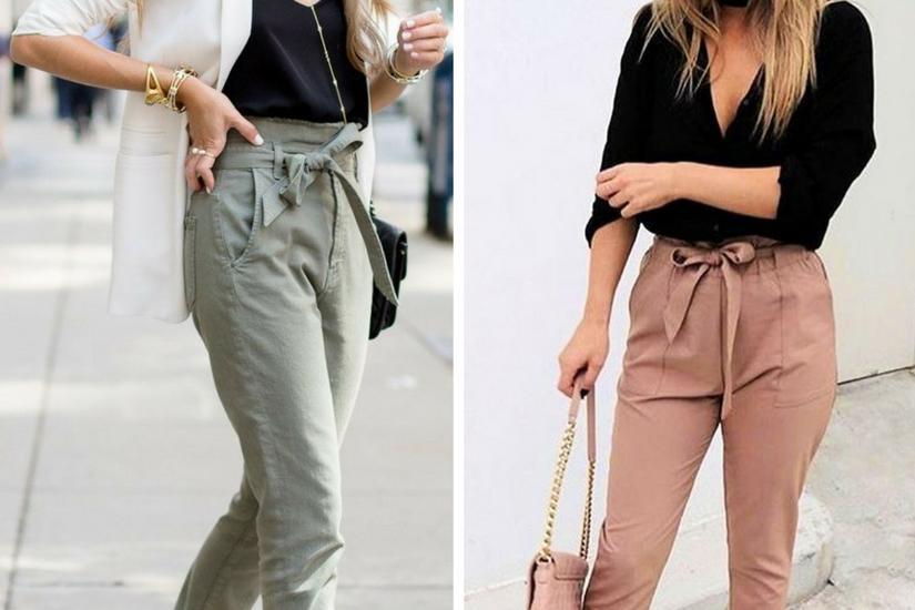 Spodnie wiązane w talii typu paper bag