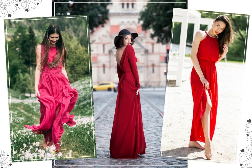 Długie czerwone sukienki Allani trendy