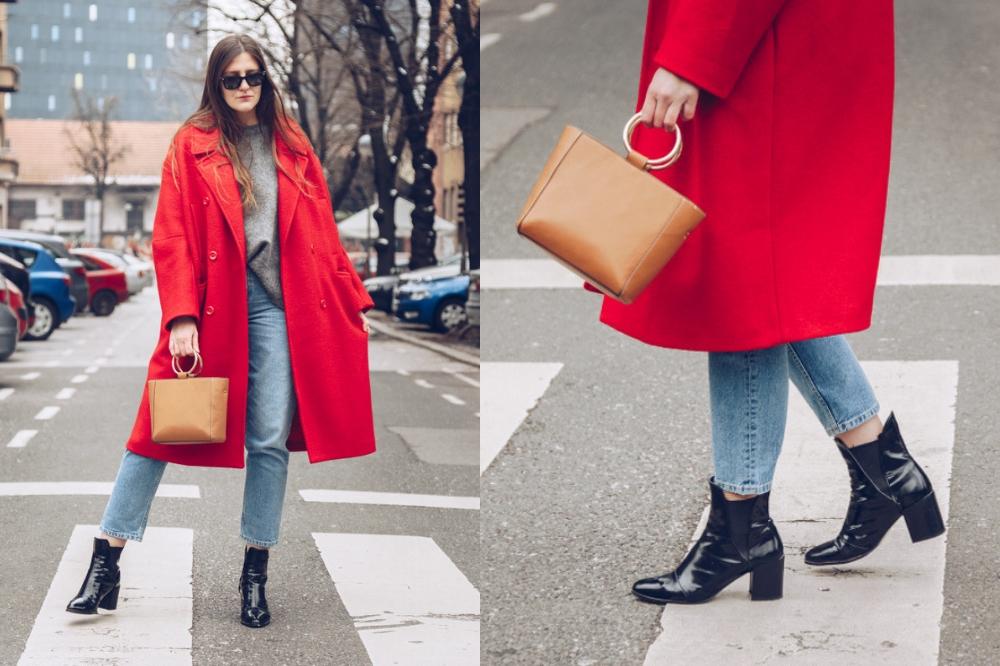 czerwony płaszcz - jesień 2018