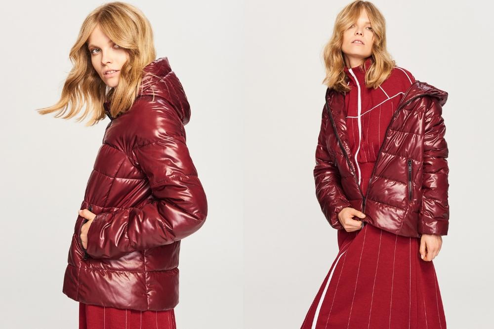 czerwona pikowana kurtka - jesien 2018