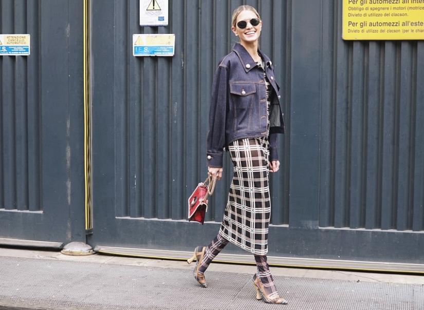 Krata w stylizacji na mediolańskim tygodniu mody