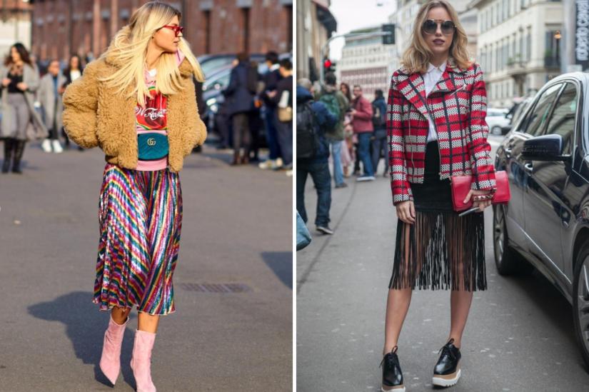 Obszerne kurtki najlepiej łączyć z kobiecymi spódnicami