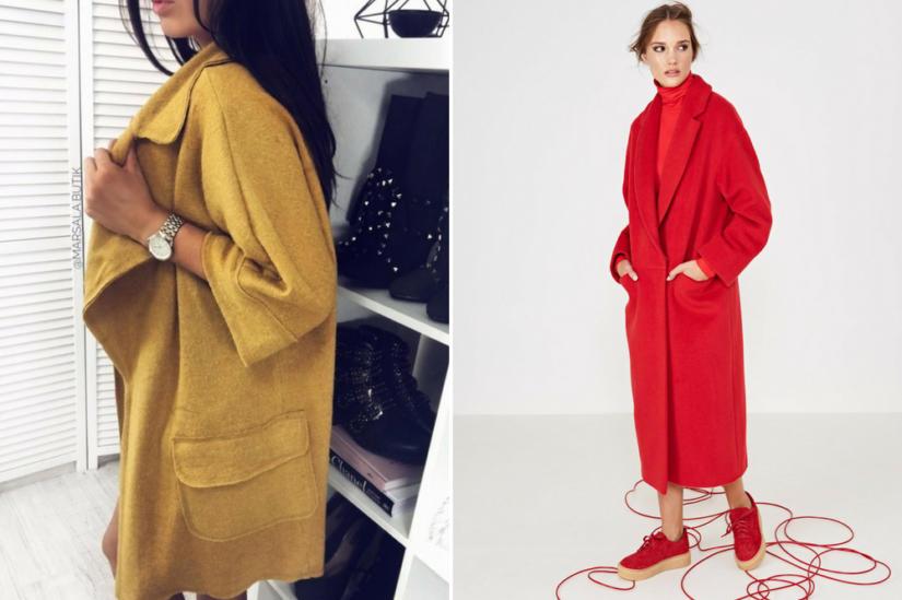 Płaszcze oversize: Marsala, Simple