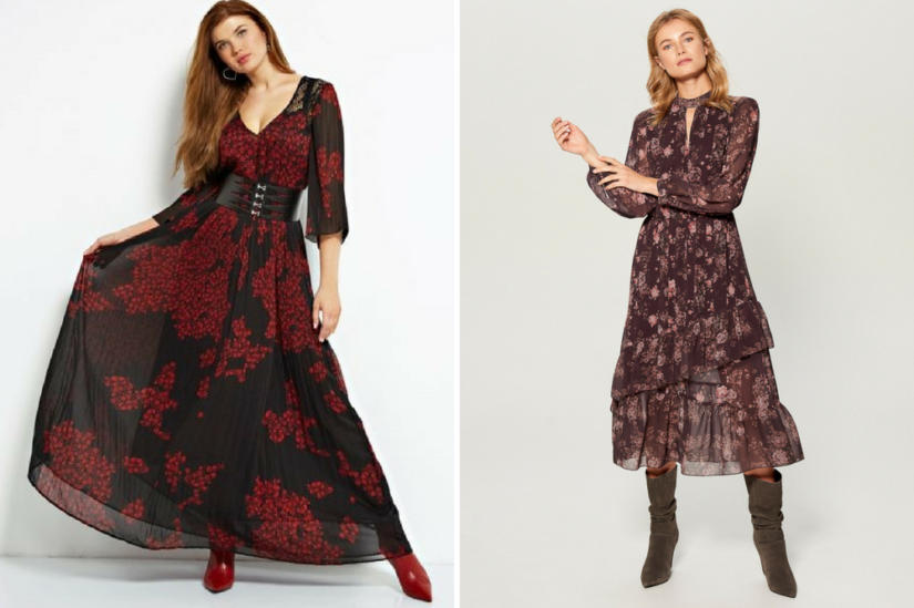 Kwieciste sukienki w stylu retro: Guess, Mohito