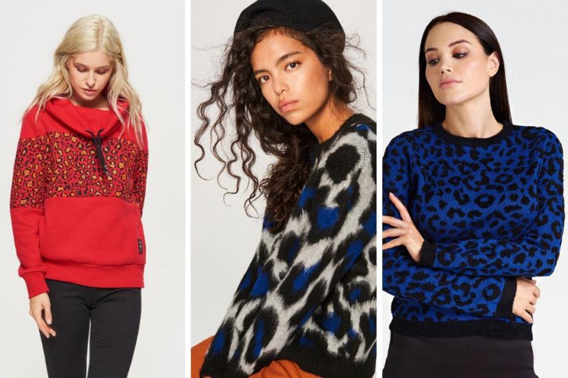 Zwierzęce wzory 2018/2019 na swetrach pojawiają się we wszystkich kolorach tęczy, fot. Cropp, Reserved, Guess
