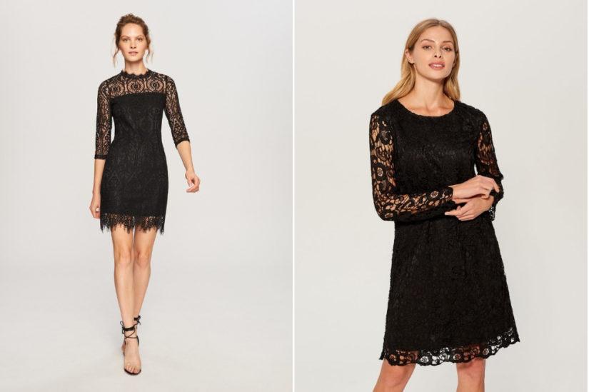 Czarne koronkowe sukienki na sylwestra to propozycja dla miłośniczek klasyki, fot. Reserved, Mohito.