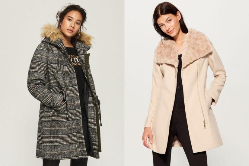 Eleganckie płaszcze z futrem nie wychodzą z mody, fot. Sinsay, Mohito