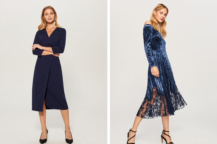 Granatowe sukienki midi idealne na wigilię dostępne na Allani.pl