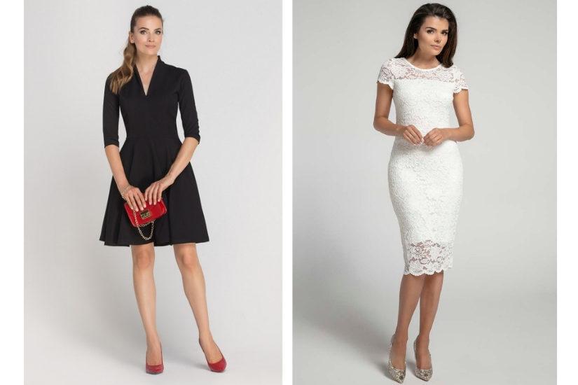 Klasyczna sukienka o długości midi będzie doskonałą stylizacją na wigilię firmową, fot. Ptak Moda, Molly.