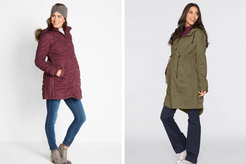 Bordowa kurtka zimowa oraz klasyczna parka ciążowa marki Bonrpix