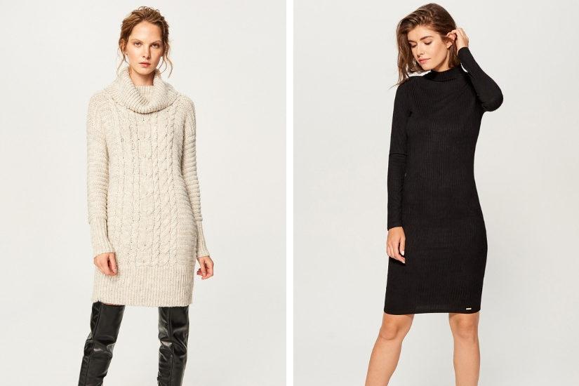Gruba dzianinowa sukienka swetrowa to świetny wybór na co dzień.
