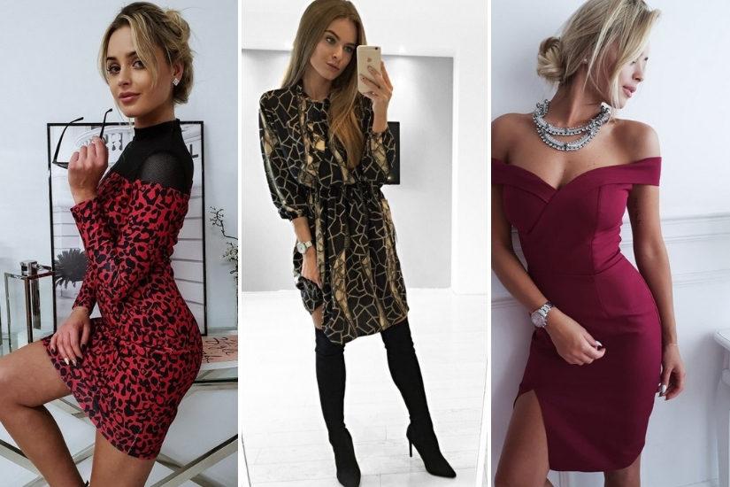 Jeśli szukasz modnej sukienki na sylwestra, postaw na kolor bordowy lub zwierzęce printy!