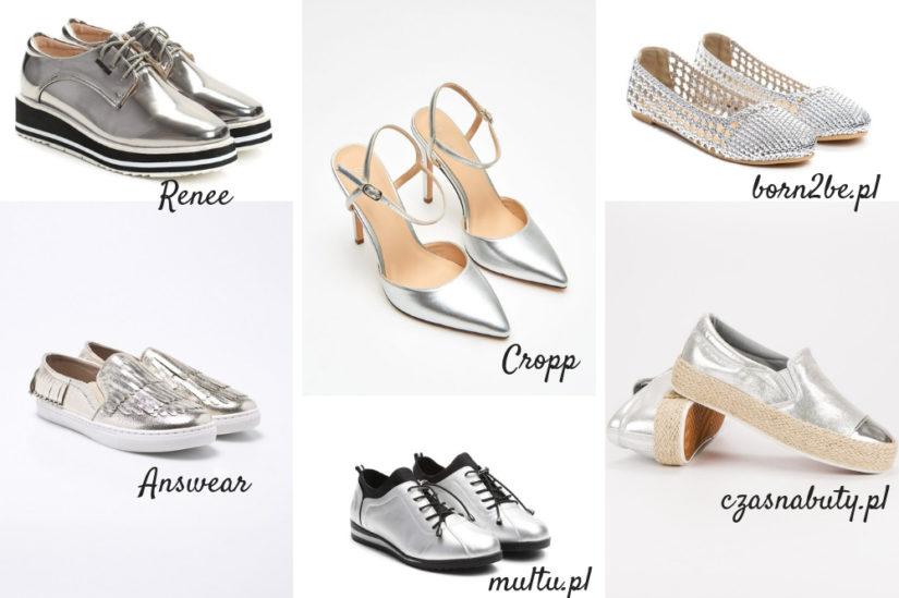 Połysk jest wciąż lubiany, zwłaszcza w codziennych stylizacjach. Srebrne buty idealnie je podkreślą