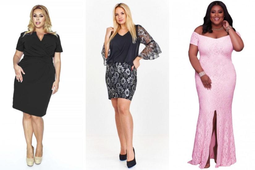 Modne sukienki dla puszystych o wieczorowym charakterze to zarówno modele maxi, jak i krótsze, fot.  molly.pl, ptakmoda.com, elegrina.pl.