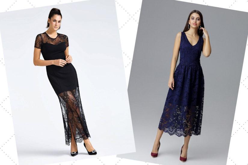 Wieczorowe sukienki z koronki świetnie sprawdzają się przy takich okazjach jak bankiety, bale czy studniówki, fot. Guess, cudmoda.pl.