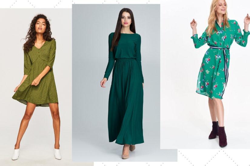 W tym sezonie wiosennym szczególnie modny będzie odcień Pepper Stem, ale również inne naturalne zielenie będą świetnie się prezentować, np. na sukienkach, fot. Resrerved, Cudmoda.pl, Top Secret.