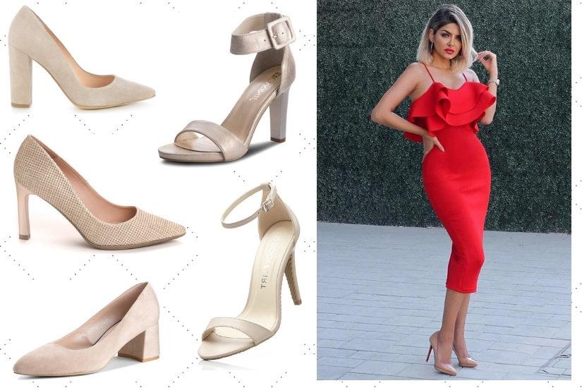 Cieliste czółenka lub sandałki komponują się najlepiej z czerwoną sukienką