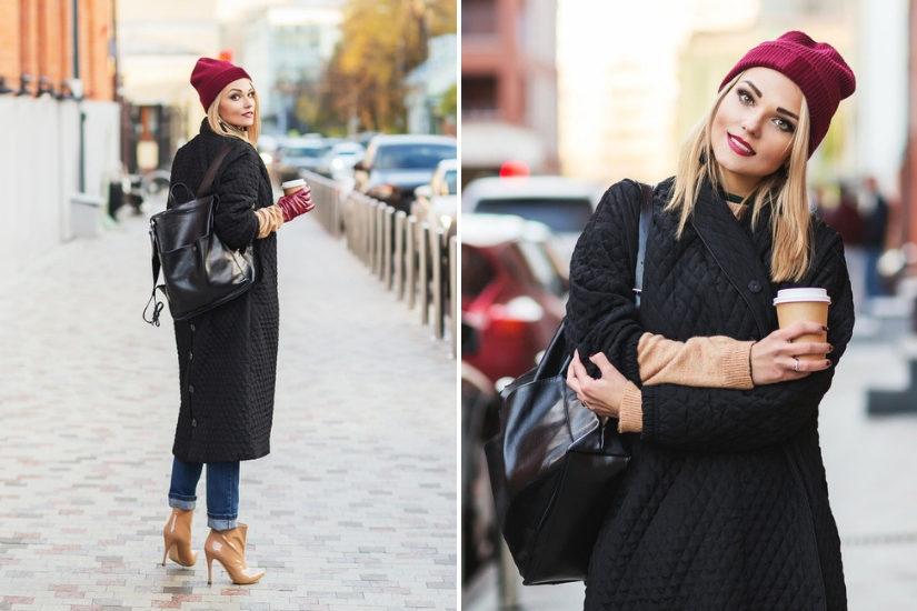 Czarny pikowany płaszczyk jest bardzo ciepły i lekki - idealny na kapryśną pogodę