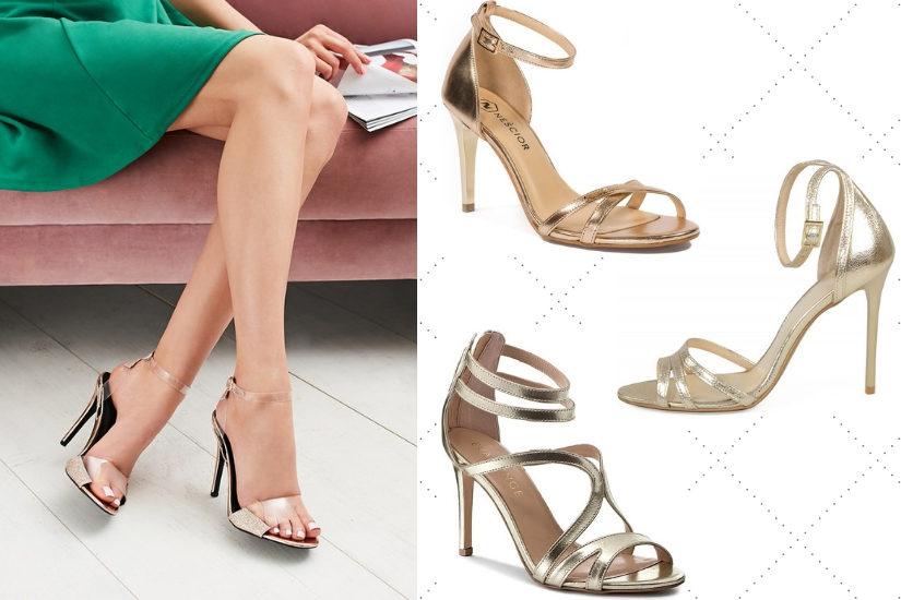 8a680a48 Złote sandały na obcasie będą pięknie współgrać z bielą, ale też modnym  beżem czy zielenią