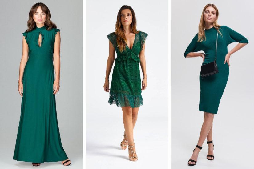 Stylowa sukienka w kolorze butelkowej zieleni sprawdzi się jako kreacja na wielkie wyjścia, ale też jako codzienny strój, fot. kiermaszmody.pl, Guess, Reserved.