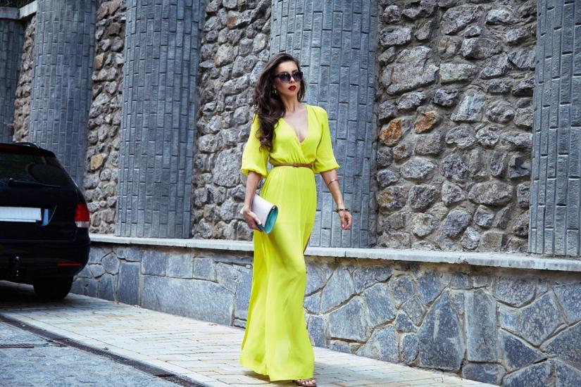 żółte sukienki maxi