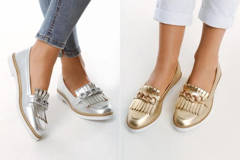 srebrne mokasyny