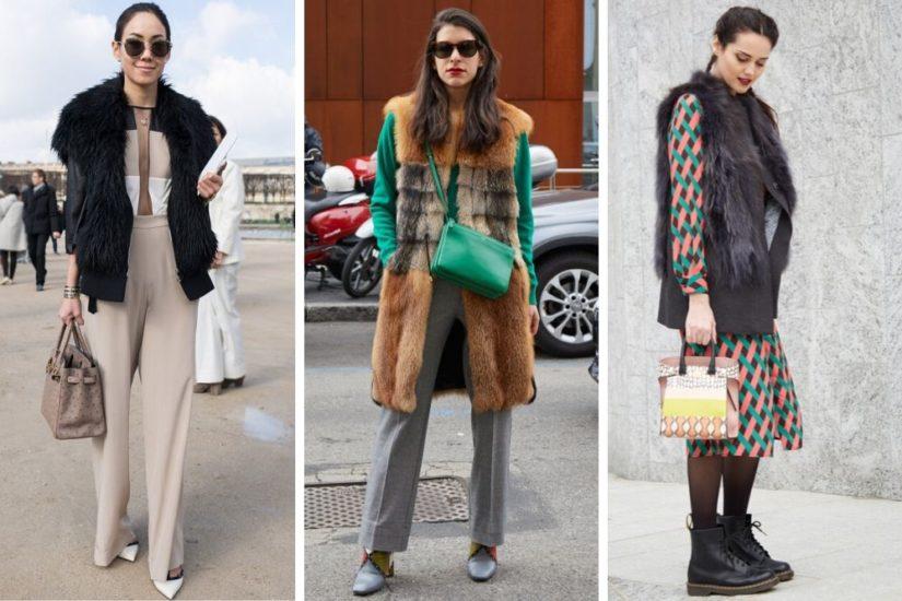 Kamizelka futrzana jest jednym ze stałych elementów mody ulicznej.