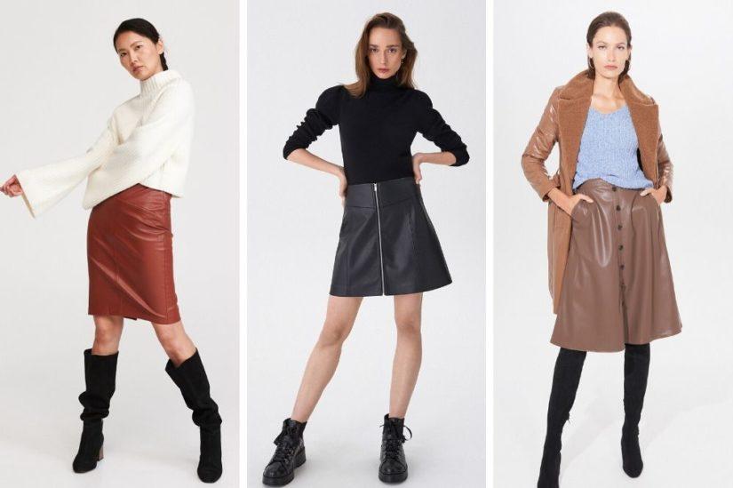 Skórzane spódnice na lato propozycje stylizacji