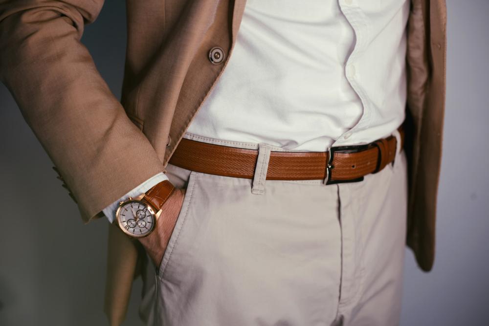 beżowe spodnie elegancka stylizacja męska