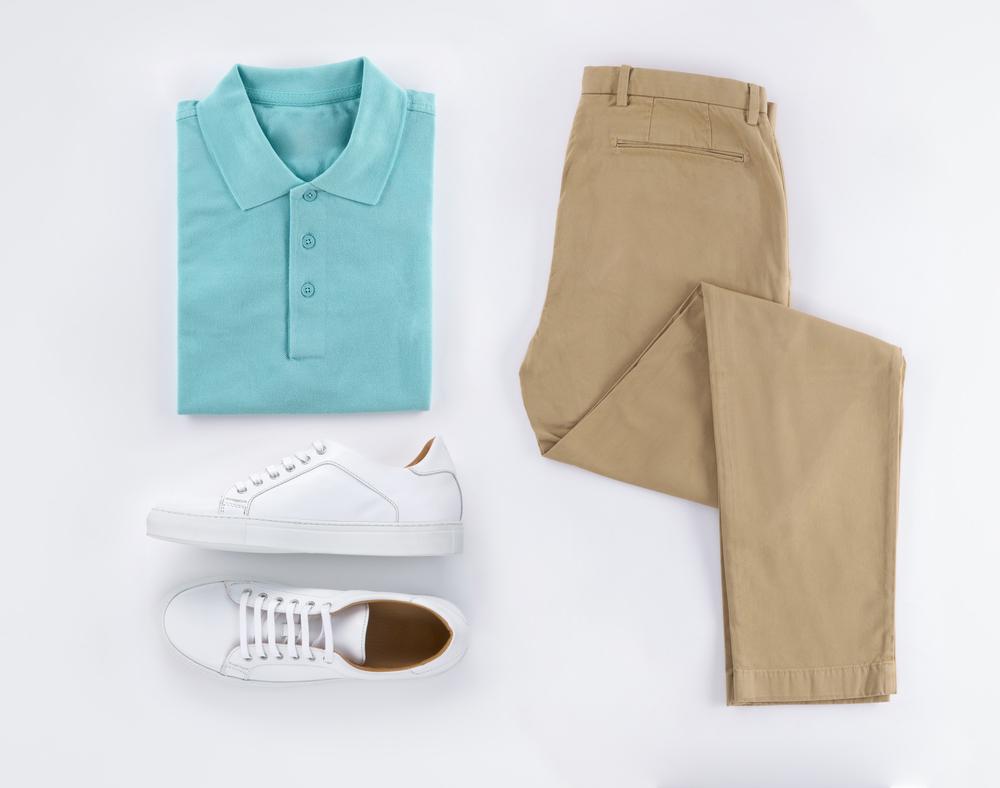 beżowe spodnie stylizacja męska