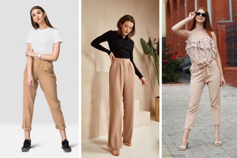 beżowe spodnie stylizacje