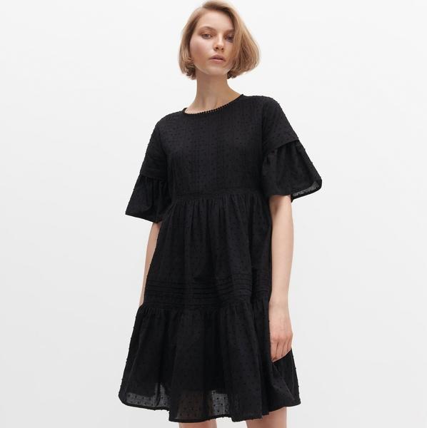 czarna sukienka reserved z krótkim rękawem