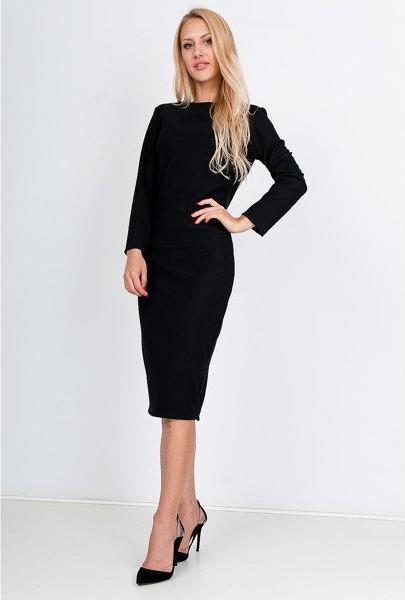 Czarna sukienka royal fashion to świetna propozycja do pracy