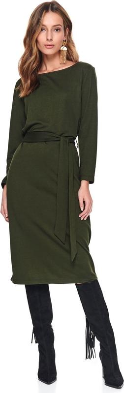 Zielona sukienka z okrągłym dekoltem będzie podstawą jesiennych stylizacji do pracy